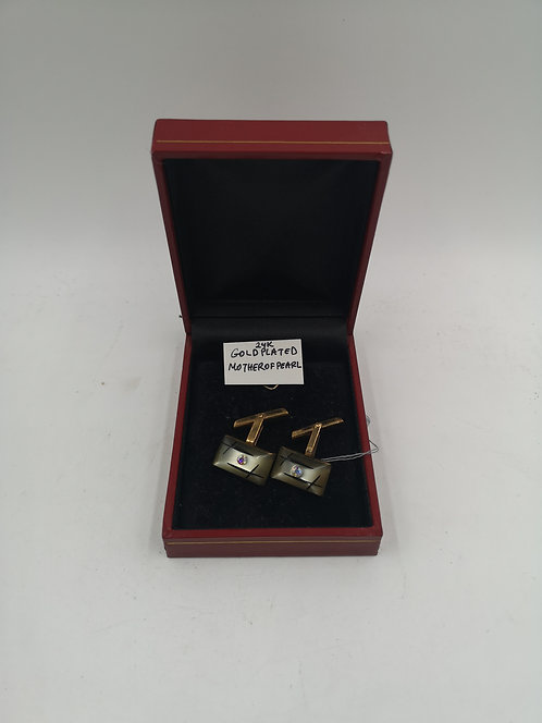 24k gold plated M. O. Pearl cufflinks