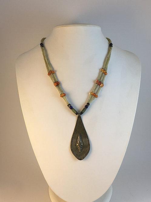 Afghan Turcoman Jade Silver Necklace