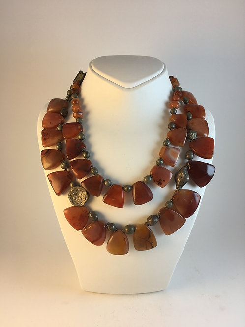 Ancient Agate Silver Necklace