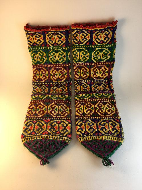 Hand Knitted Old Turkish Acrylic Fiber Village Socks