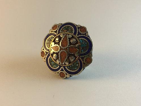 Tibetan Mosaic Alpaka Silver Ring