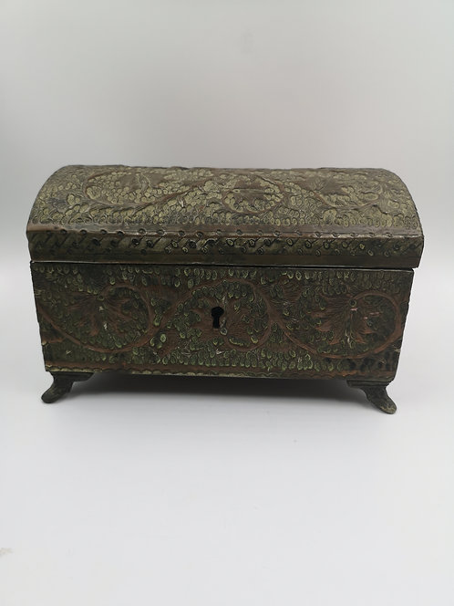 Copper engraved and hammered old box