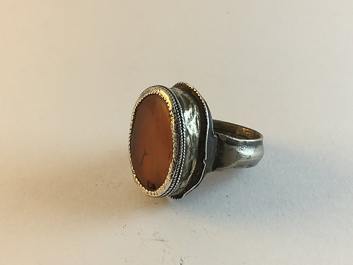 Antique Turcoman Silver Agate Ring