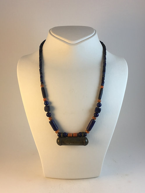 Afghan Lapis Coral Silver Humayile Necklace