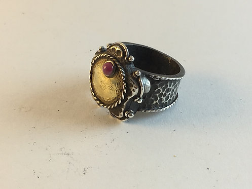 Turkish Silver Ring with Ottoman 22k Antique Gold Coin