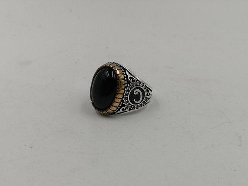 "Turkish ""Vav"" agate silver ring"