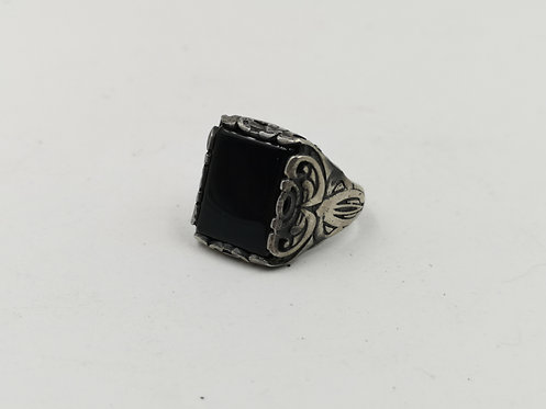 Iranian onyx silver ring