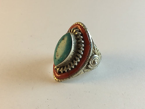 Tibetan Coral and Turquoise Silver Ring