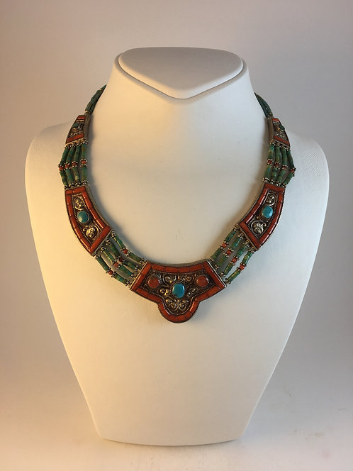 Tibetan Red Coral Turquoise Necklace