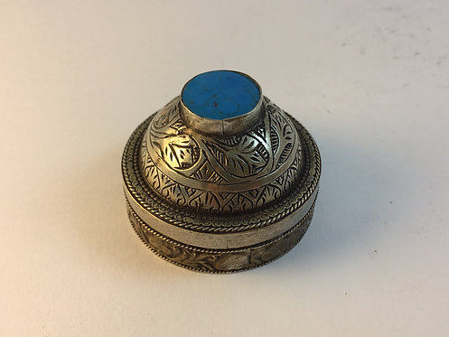 Afghan Turquoise Silver Box