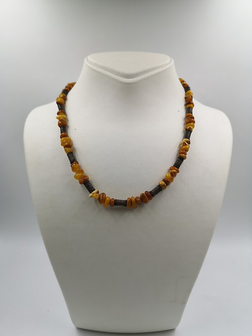 Natural Drop Amber silver Necklace