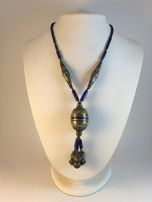 Afghan Lapis Kazakh Silver Necklace