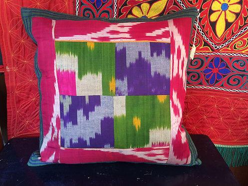 Silk Ikkat Patcwork Cushion
