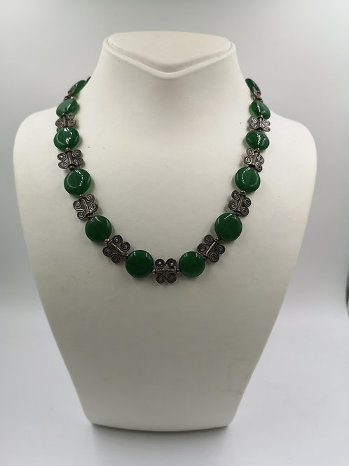 Green agate low silver Necklace