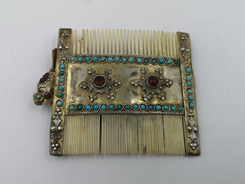 Bone silver Afghan comb Turquoise