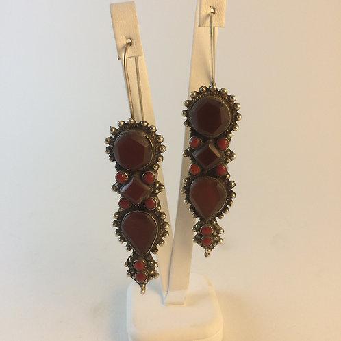 Afghan 925k Silver Agate Earring set