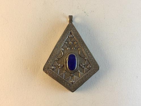 Afghan Kazakh Lapis Silver Pendant
