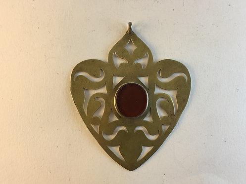 Turcoman Silver Gold Hand Cut Pendant