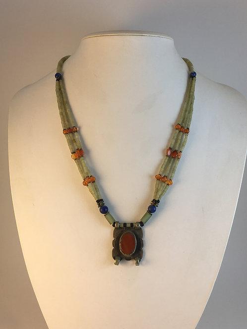 Turcoman Jade Agate Lapis Necklace