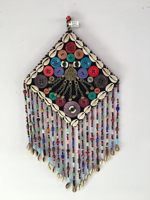 Small Turcoman Beaded Silver Kutchi Pendant Nazarlyk Wall Hanging