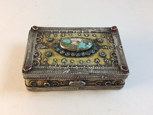 Low Silver Afghan Kazakh Jewelry Box