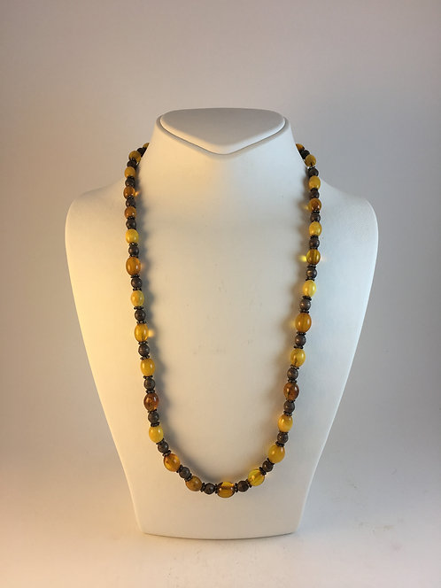 Indian Natural Drop Amber Silver Necklace