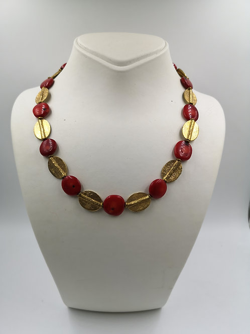 Red Coral gold plated Bronze Necklace