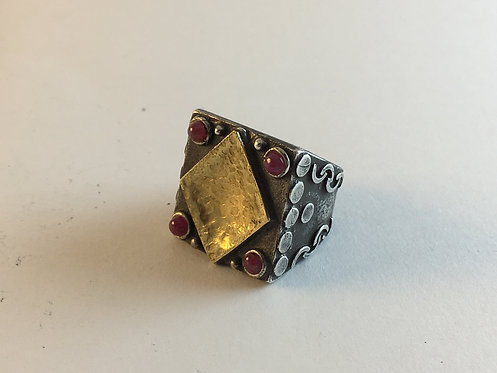 Turkish Hammered Gold and Ruby Silver Ring