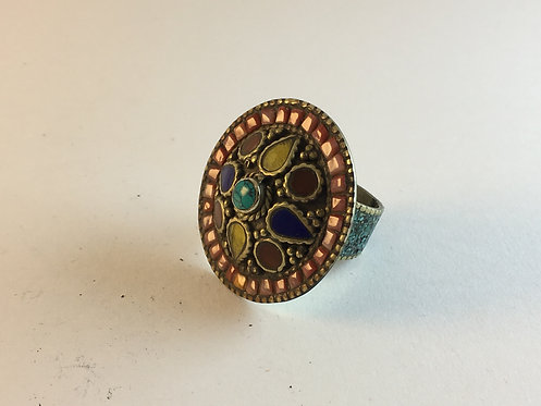 Nepalese Turquoise Coral Alpaka Silver Ring