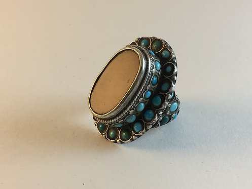 Afghan Silver Turquoise Agate Ring
