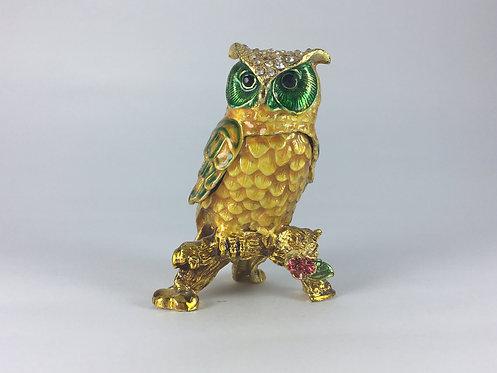 Enamel Solid Brass Owl