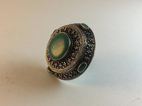 Afghan Kutchi Green Agate Alpaka Ring