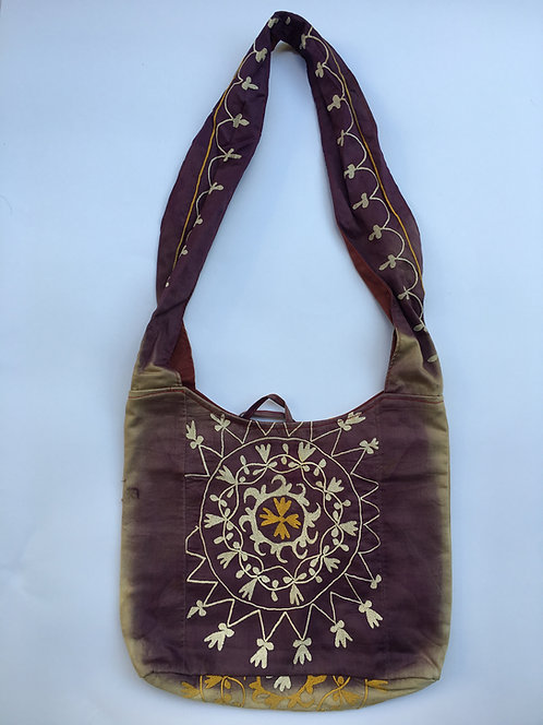 Purple Fine Embroidery Suzani Shoulder Bag