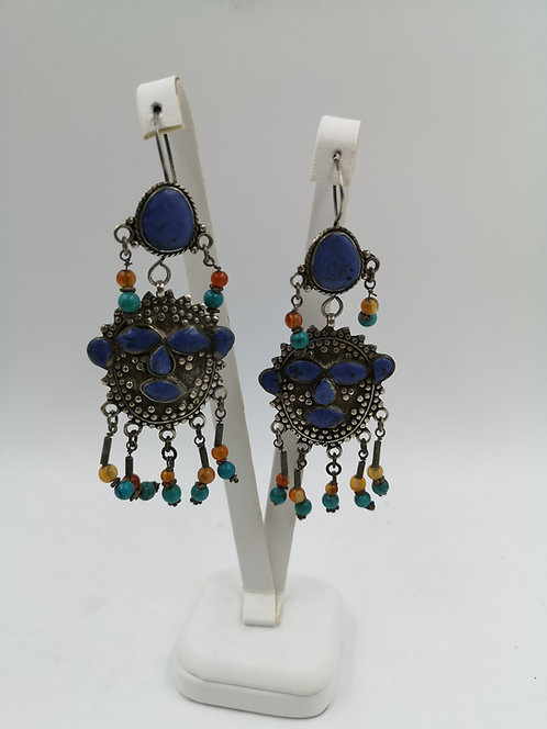 Afghan silver earrings lapis turquoise agate