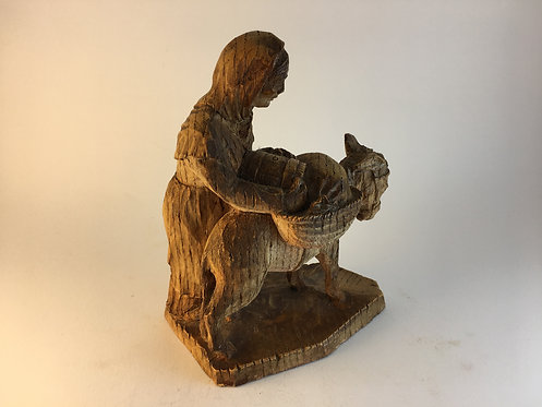 Wooden Carving Peasent Women With Donkey