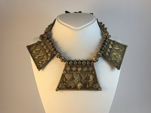 Afghan Kutchi Tribal Gold Plated Silver Necklace