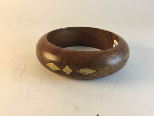 Brass Inlaid Wooden Indian Bracelet