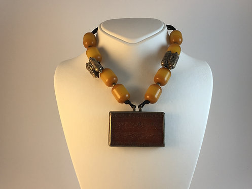 Amber Resin Silver Afghan Necklace