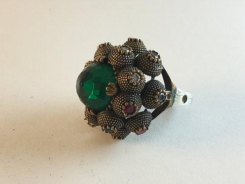 Turkish Silver Green Quartz Ruby Turmaline Ring