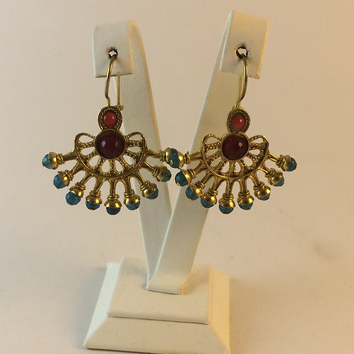 Bronze Gold Plated Uzbek Turquoise Earring set