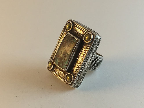 Afghan Kazakh Silver Meshed Turquoise Ring