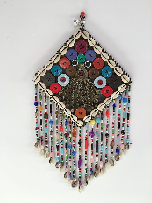 Small Turcoman Beaded Silver Kutchi Pendant Nazarlyk Wall Hanging