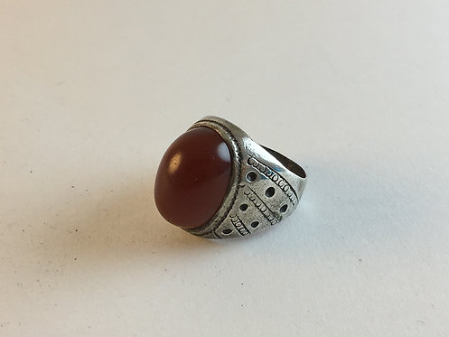 Iranian Cornelian Agate Hand Made Old Silver Ring