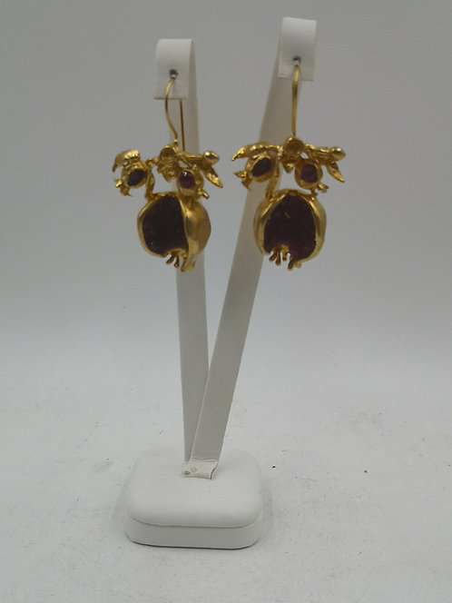 24k gold plated Bronze pomegranate Earrings