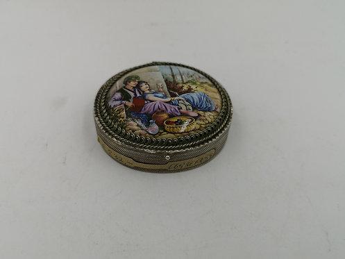 Ottoman porcelain 925 silver pill box