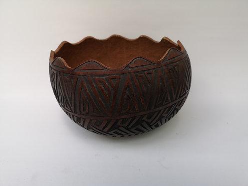 Kenyan engraved gourd bowl