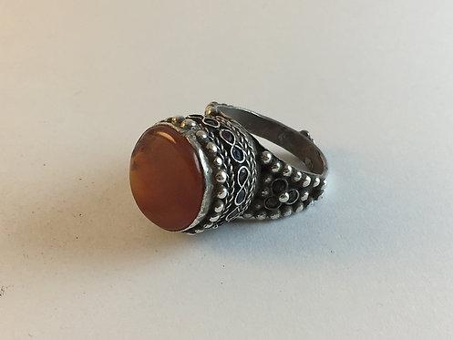 Afghan Silver Pashtun Agate Ring