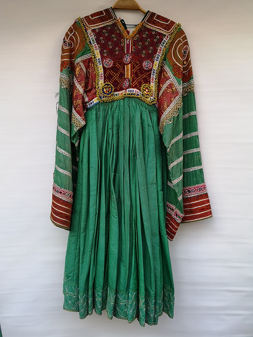 Afghan Peshtun beaded silk dress