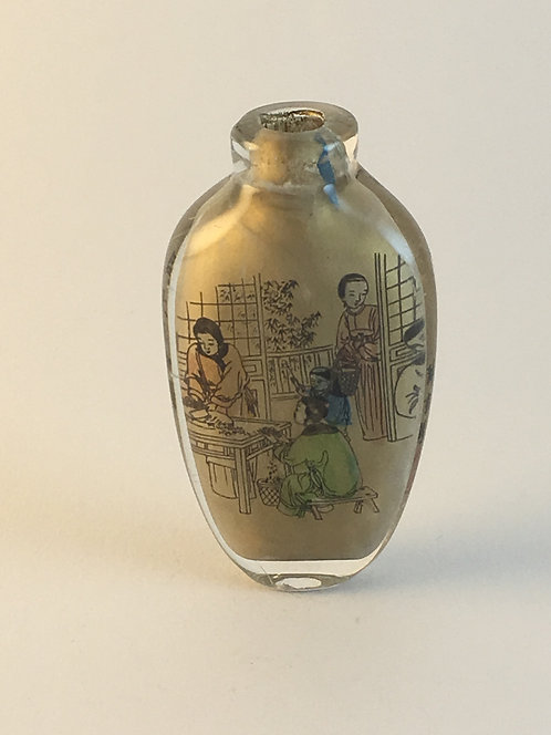 Chinese Glass Painted from Inside Perfume Bottle