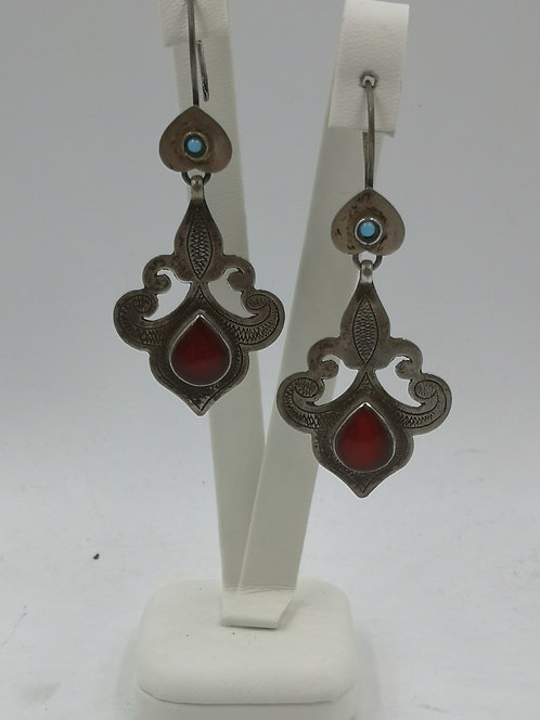 Turcoman silver agate turquoise earrings